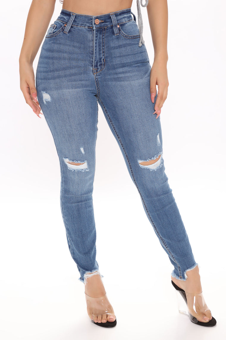 Different City Every Night Distressed Ankle Jeans - Medium Blue Wash