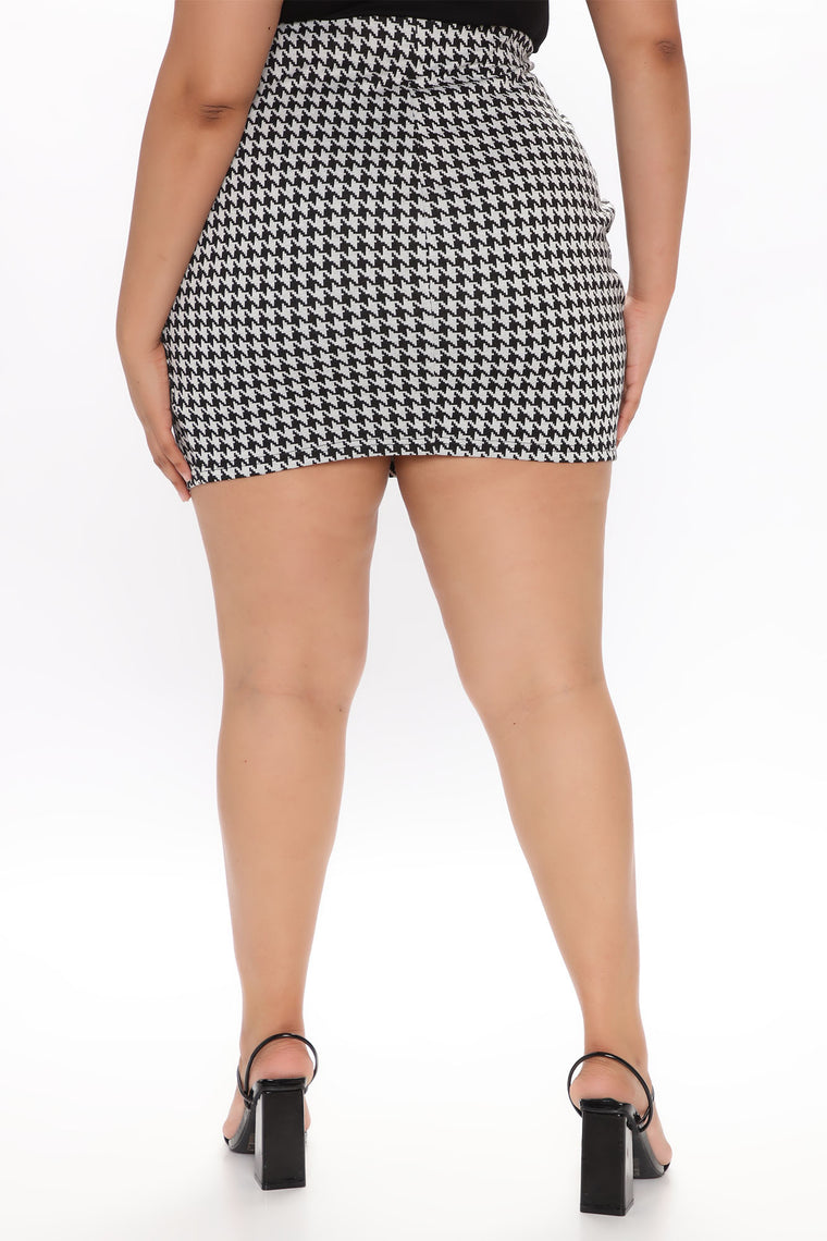 Flame In Your Heart Hounds Tooth Mini Skirt - Black/Grey