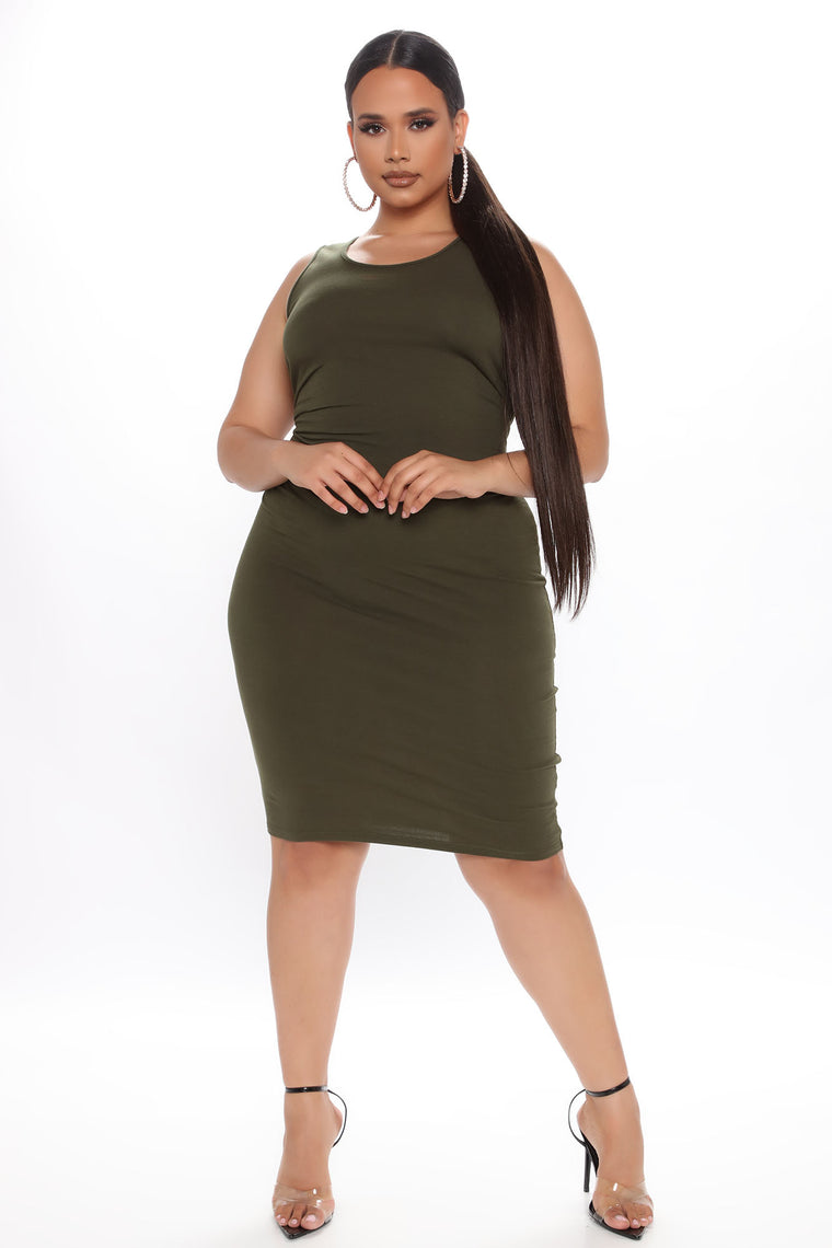 Always Doing Me Mini Dress - Olive