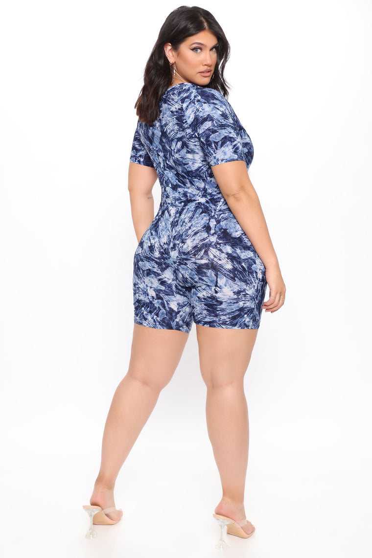 Foggy Perception Mock Neck Romper - Navy