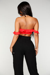 Riley Ruffle Crop Top - Red