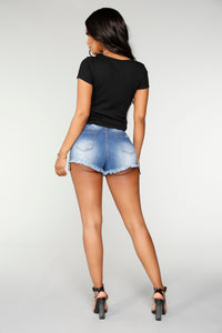 Cruise Control Distressed High Rise Shorts - Medium Wash