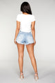All Ruffled Up Denim Shorts - Light Blue Wash