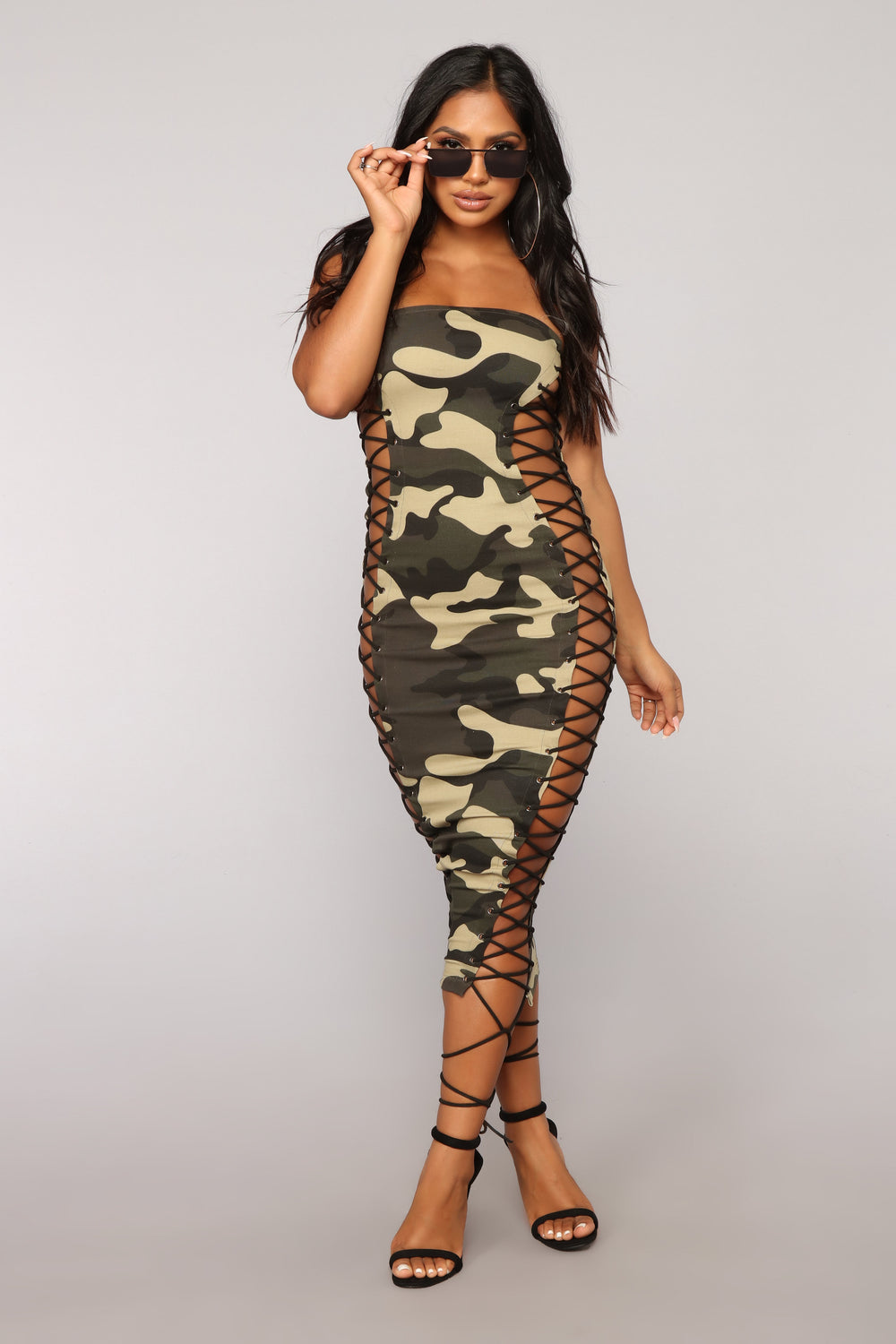Too Hot For You Camo Dress - Olive Camo