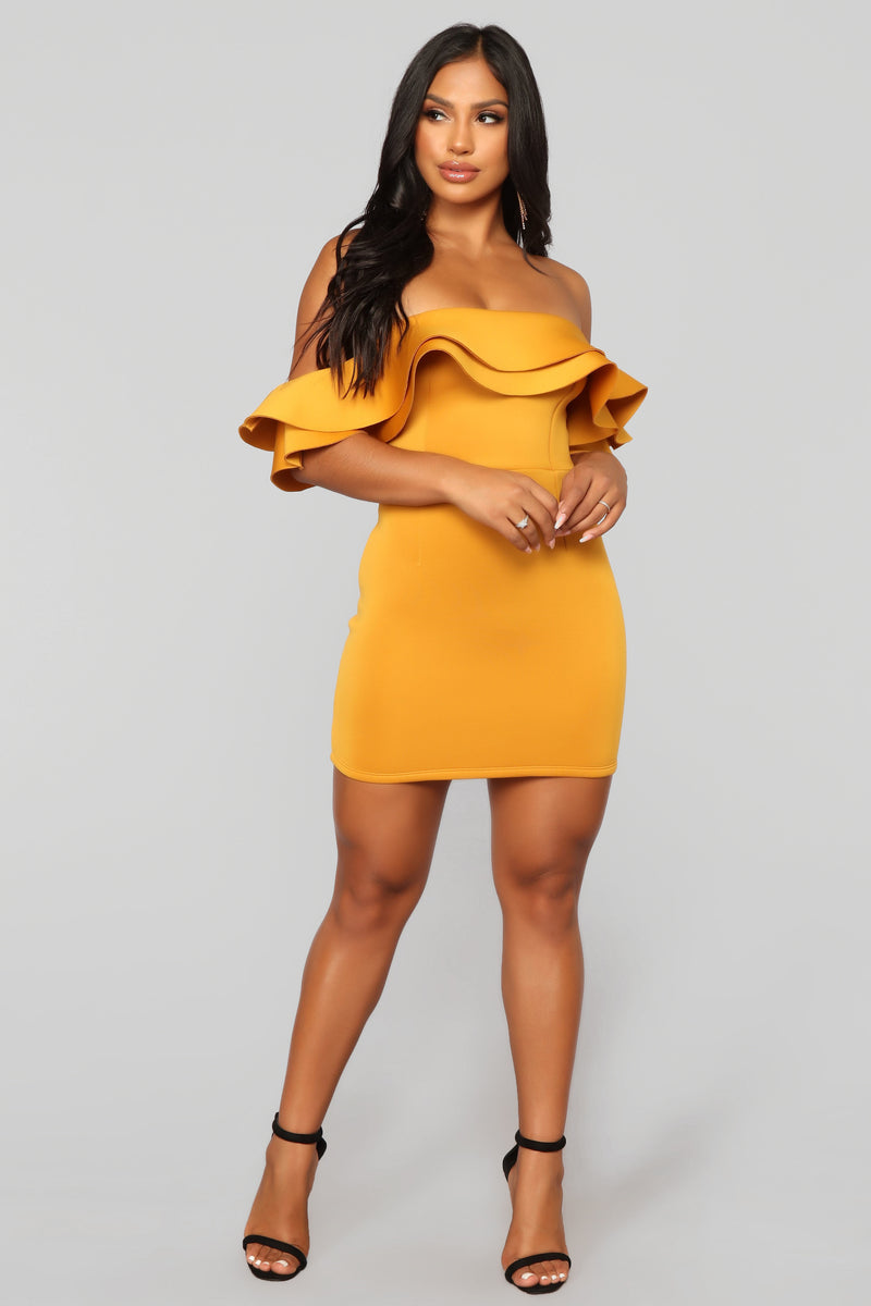 Sexy mustard color dress