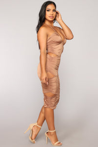 Tianjin Ruched Cutout Dress - Bronze