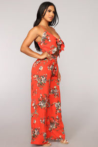 Every Flower Has It's Thorn Floral Jumpsuit - Red Floral