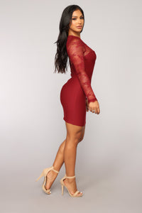 Case of Lovers Lace Dress - Burgundy