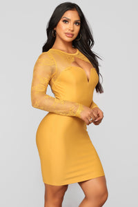 Case of Lovers Lace Dress - Mustard Angle 6