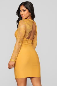 Case of Lovers Lace Dress - Mustard Angle 7
