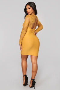 Case of Lovers Lace Dress - Mustard Angle 5