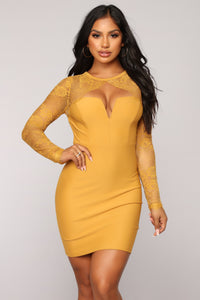 Case of Lovers Lace Dress - Mustard Angle 3
