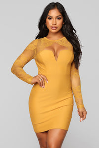 Case of Lovers Lace Dress - Mustard Angle 2