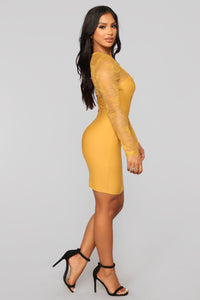 Case of Lovers Lace Dress - Mustard Angle 4