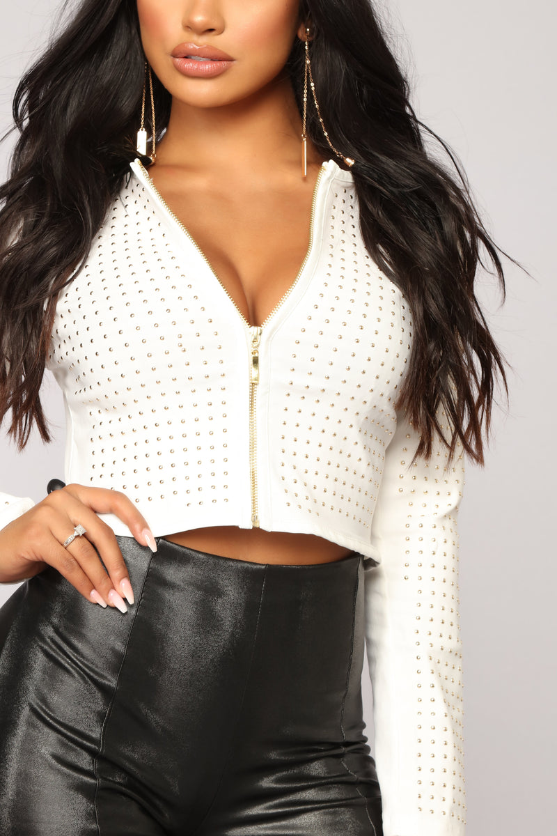 Carmin Studded Jacket - White