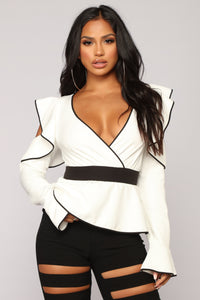 Origin Of Love Peplum Top - White