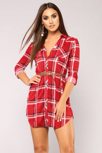 Lodging Plaid Tunic - Red/Ivory