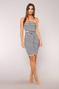 Wonderful Life Stripe Dress - Navy