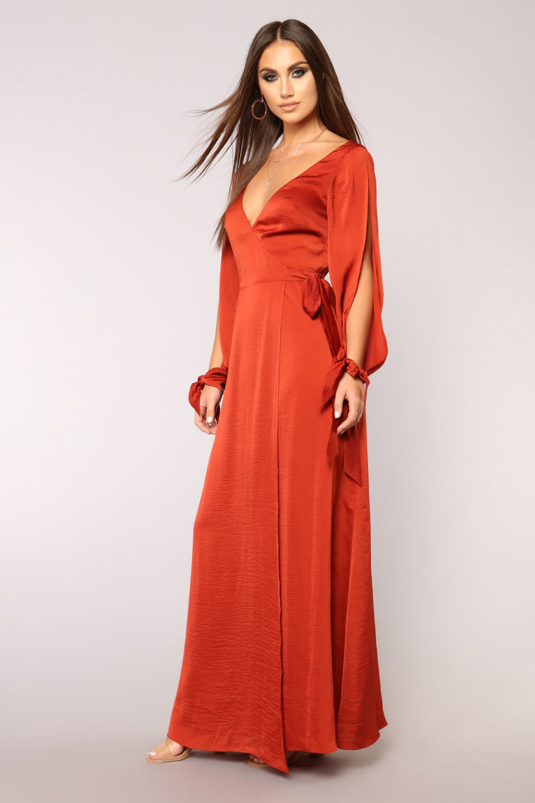 Talk Less Maxi Dress - Brick