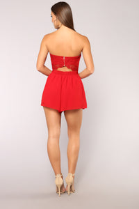 Love Quote Lace Romper - Red