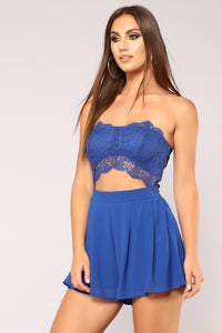 Love Quote Lace Romper - Royal