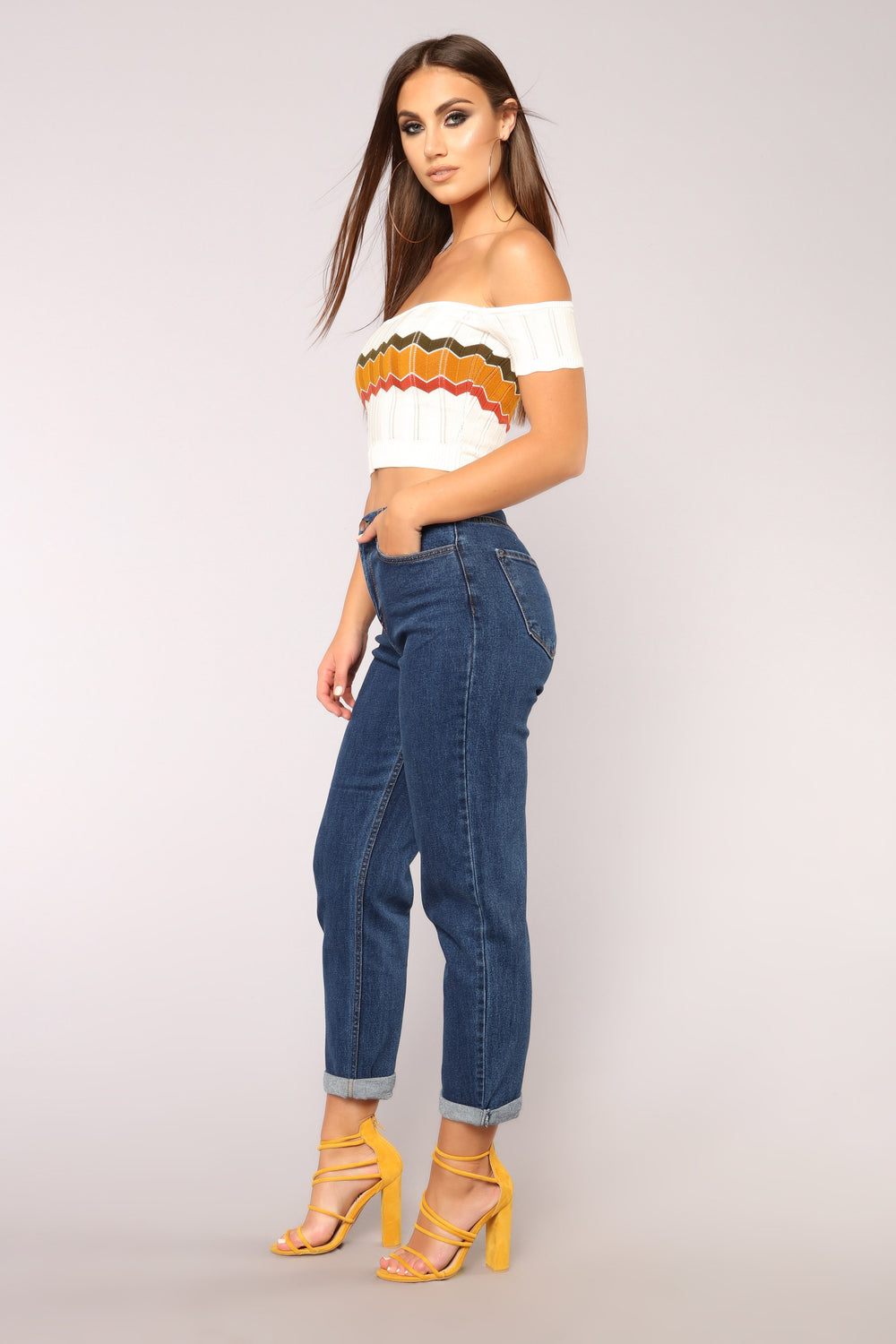Groove It Crop Top - White/Olive