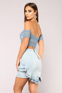 Here To Stay Crochet Top - Blue