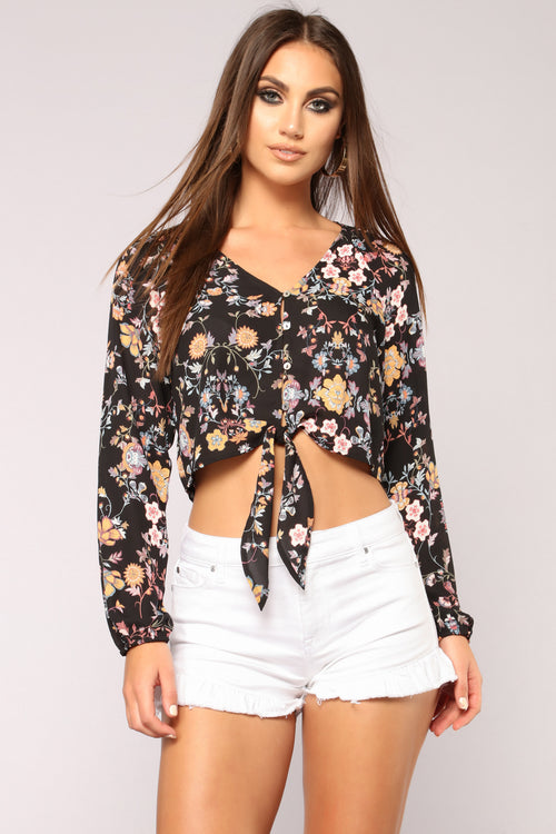 Kiara Floral Top - Black Combo