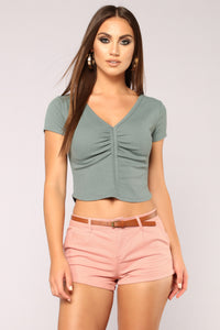 Rita Ruched Top - Olive