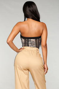 Lace Is More Strapless Bodysuit - Tan