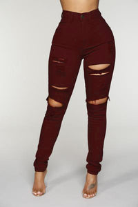 Blanched Jeans - Burgundy