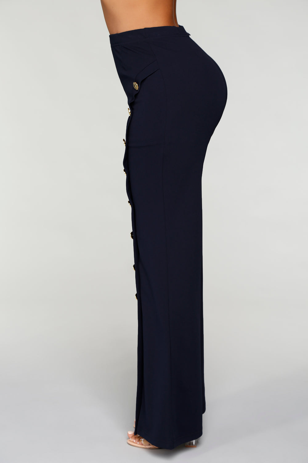 Flare My Button Pants - Navy