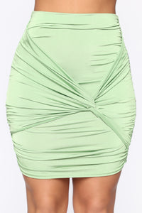 Knot Enough Ruched Mini Skirt - Green