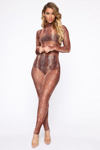 Hissy Fit Snakeskin Jumpsuit - Brown/Combo