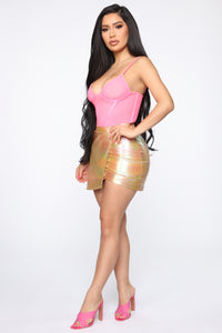 Down For You Mesh Bustier - Neon Pink