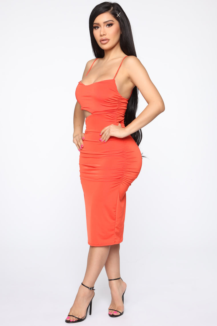 Daelyn Cut Out Midi Dress - Red Orange