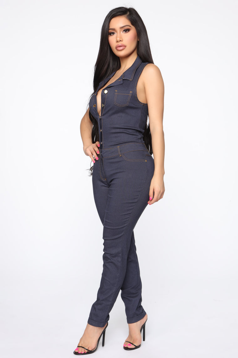 Look At You Super Stretch Jumpsuit - Dark Wash