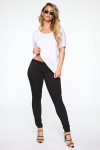 Flex On Them Low Rise Skinny Jeans - Black Angle 2
