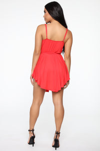 More Than You'd Expect Wrap Romper - Tomato Red