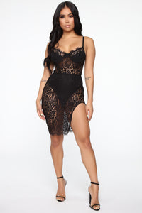 Hidden Secrets Lace Mini Dress - Black
