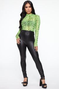 Live For The Night Body Suit - Neon Lime Angle 2