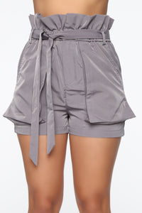 Getting Tie Wasted Paperbag Shorts - Grey