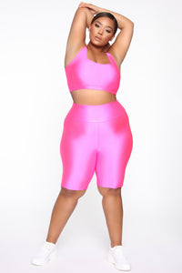 Nova Baesic Biker Short In Glossy Fabric - Neon Pink Angle 8