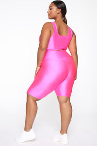 Nova Baesic Biker Short In Glossy Fabric - Neon Pink Angle 9