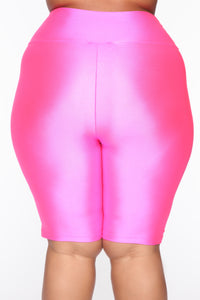 Nova Baesic Biker Short In Glossy Fabric - Neon Pink Angle 11