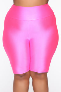Nova Baesic Biker Short In Glossy Fabric - Neon Pink Angle 10