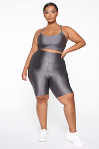 Nova Bae-sic Bermuda Biker Short In Glossy Fabric - Grey
