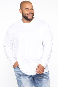 Essential Long Sleeve Crew Tee - White Angle 11