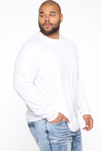 Essential Long Sleeve Crew Tee - White Angle 13