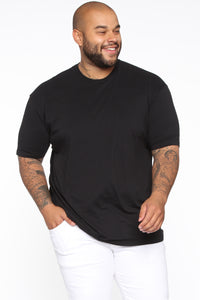 Essential Crew Tee - Black Angle 7